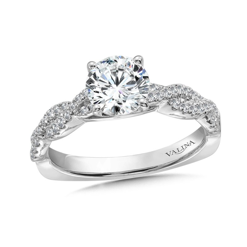 Valina Diamond Engagement Ring Mounting with Side Stones in 14K White Gold (.31 ct. tw.)