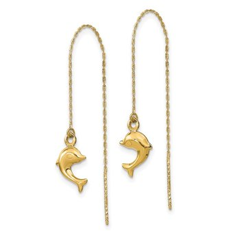 14k Polished Dolphins Threader Earrings