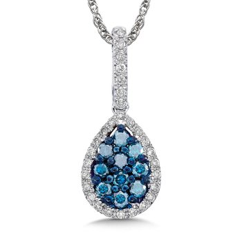 Pave set Blue and White Diamond Drop Shaped Pendant, 10k White Gold  (1/2ct. dtw.)