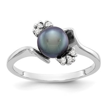 14k White Gold 6mm Black FW Cultured Pearl AA Diamond ring