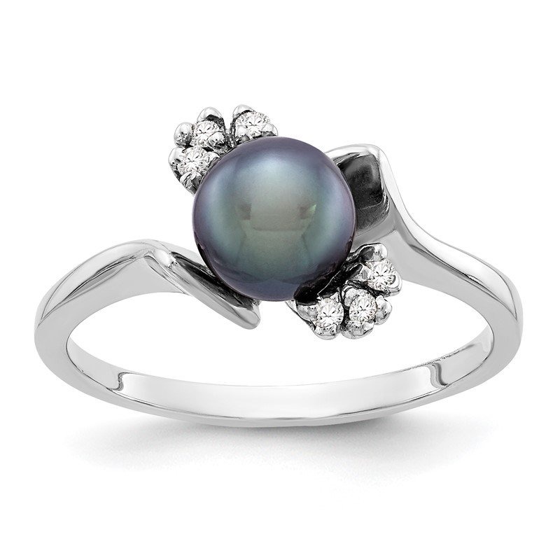 Quality Gold 14k White Gold 6mm Black FW Cultured Pearl AA Diamond ring