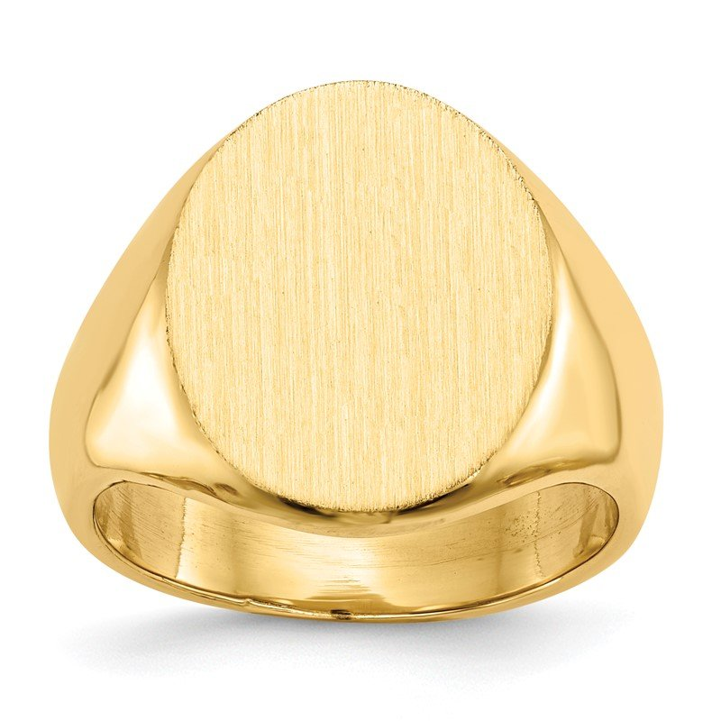 Quality Gold 14k 17.5x14.0mm Closed Back Men's Signet Ring