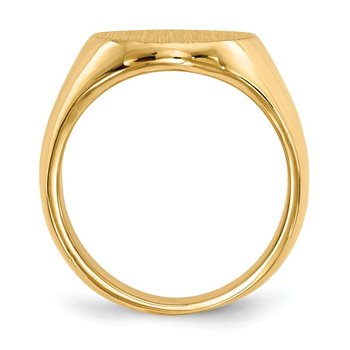 14k 17.5x14.0mm Closed Back Men's Signet Ring
