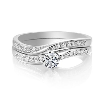 Diamond Engagement Ring with Matching Wedding Band