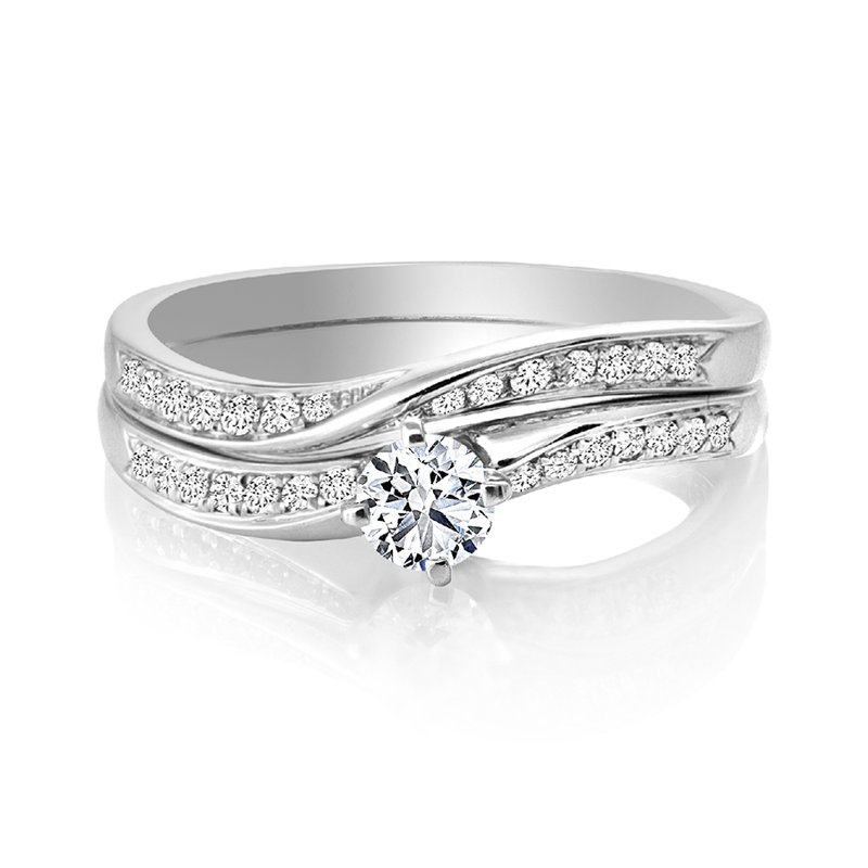 Canadian Rocks Diamond Engagement Ring with Matching Wedding Band