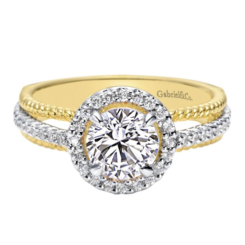 Gabriel Bridal 14K White-Yellow Gold Round Halo Diamond Engagement Ring