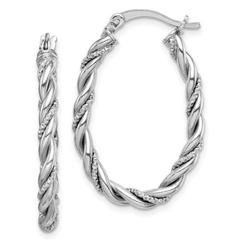 Sterling Silver Rhodium-plated 2.5mm Twisted Oval Hoop Earrings