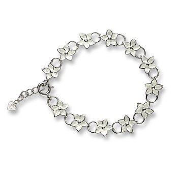 White Stephanotis Chain-link Bracelet.Sterling Silver