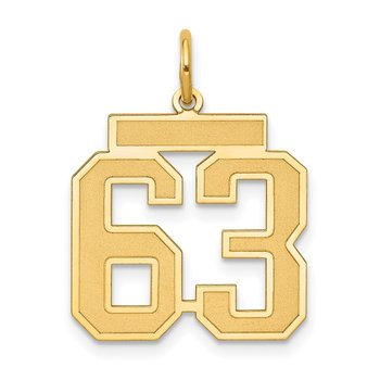 14k Medium Satin Number 63 Charm