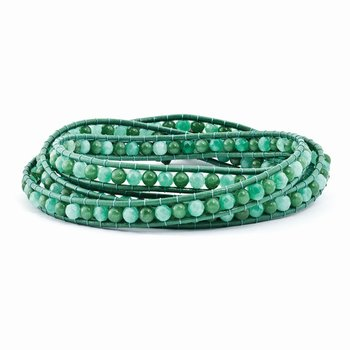 Green Aventurine/Green Quartz/FW Cultured Pearl Clasp Leather Wrap Bracelet