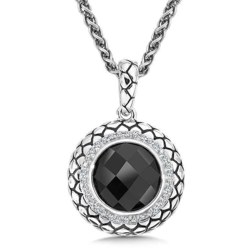 Sterling Silver Onyx and Diamonds Serpentine Round Pendant