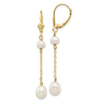 14K 5-7mm White Rice Freshwater Cultured Pearl Leverback Earrings