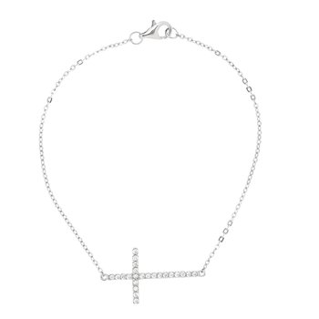 Silver CZ Side Cross Chain