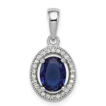 Sterling Silver Rhod-plated Dark Blue and White CZ Oval Pendant