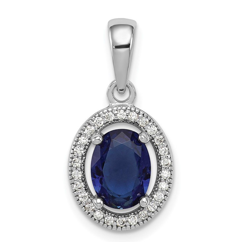 Quality Gold Sterling Silver Rhod-plated Dark Blue and White CZ Oval Pendant
