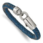 Chisel Stainless Steel Antiqued and Polished Blue Leather 8.25in Bracelet