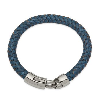 Stainless Steel Antiqued and Polished Blue Leather 8.25in Bracelet