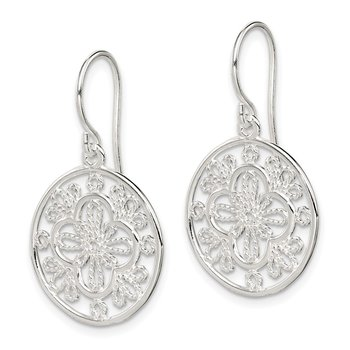 Sterling Silver Polished Filigree Shepherd Hook Earrings