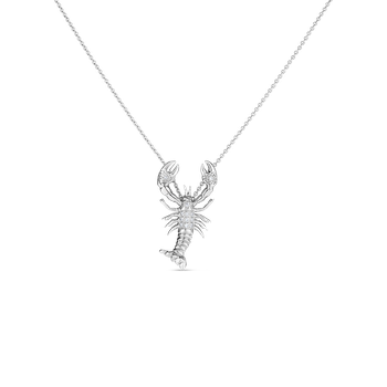 18Kt White Gold Diamond Lobster Pendant