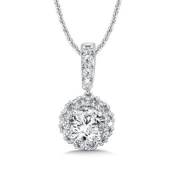 Diamond Round Halo Pendant with Diamond Bale in 14K White Gold (3/4 ct. tw.)
