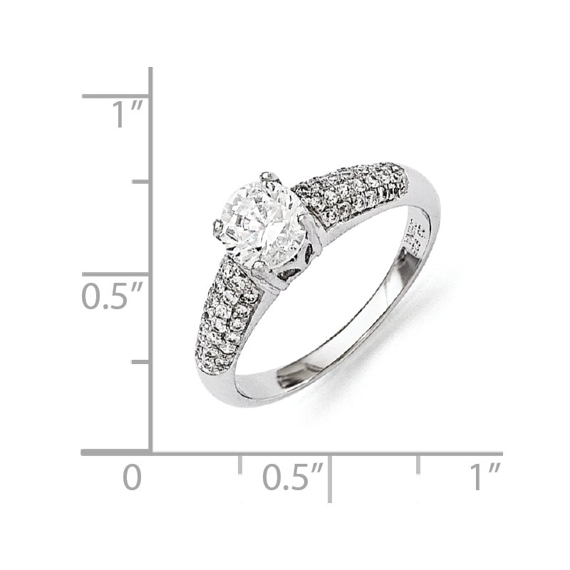 Arizona Diamond Center Collection Sterling Silver Brilliant Embers Rhodium-plated CZ Ring