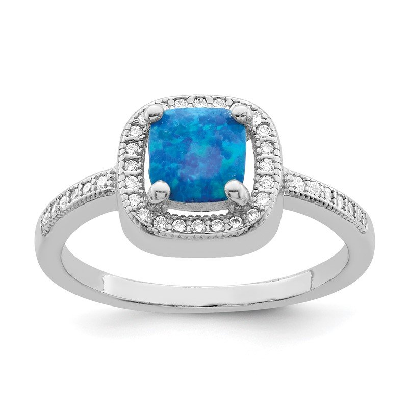 Quality Gold Sterling Silver Rhodium-plated Square Blue Created Opal CZ Ring