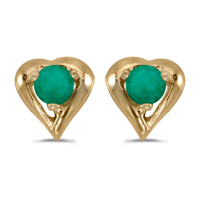Color Merchants 14k Yellow Gold Round Emerald Heart Earrings