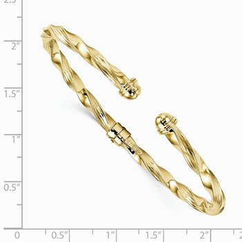 Leslie's 14k Polished Textured Hinge Cuff Bangle