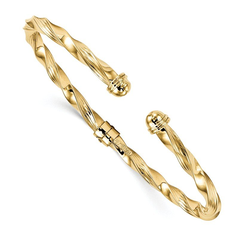 Leslie's Leslie's 14K Polished Textured Hinge Cuff Bangle