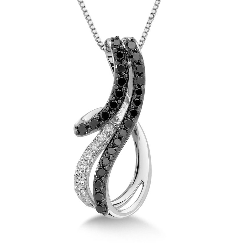 SDC Creations Pave set Black and White Diamond Free-form Wave Pendant, 10k White Gold  (1/4 ct. dtw.)