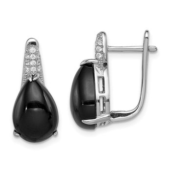 Sterling Silver Rhodium-plated CZ and Onyx Hinged Hoop Earrings