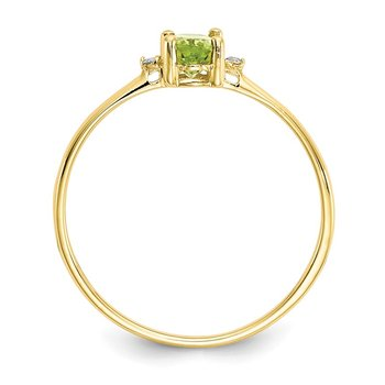 10k Polished Geniune Diamond & Peridot Birthstone Ring