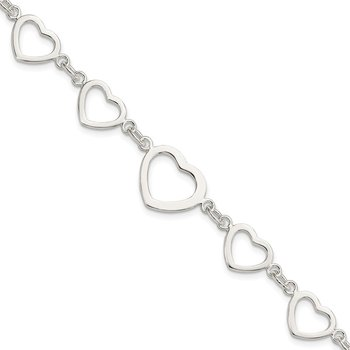 Sterling Silver Polished Heart Fancy Link Bracelet