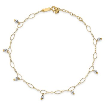14K Two-Tone Mirror Beaded 9in Plus 1in ext. Anklet