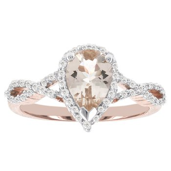 14k Rose Gold 1 1/10ct Morganite Center, 1/4ct Diamond and Ring
