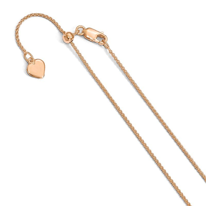 Leslie's Leslie's Sterling Silver 1.0mm Rose Gold-plated Adjustable Spiga Chain