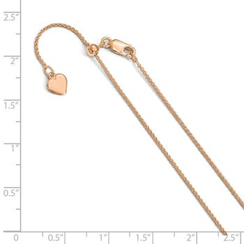 Leslie's Sterling Silver Rose Gold-plated Adjustable 1mm Spiga Chain