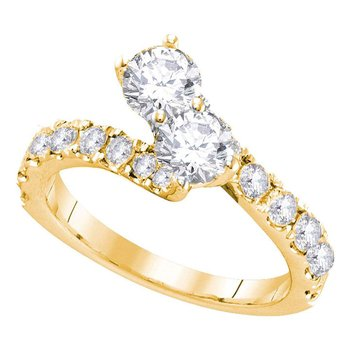 14kt Yellow Gold Womens Round Diamond 2-stone Bridal Wedding Engagement Ring 1.00 Cttw