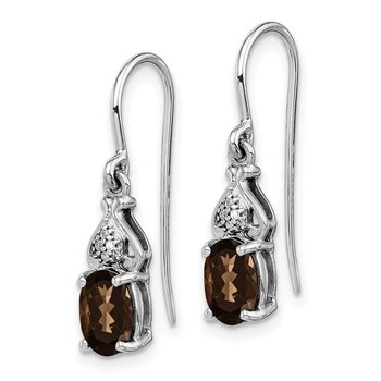 Sterling Silver Rhodium-plated Diamond and Smoky Quartz Earrings