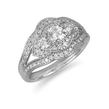 14K WG Dia 3 Stone Split Shank Eng Ring in Pave Setting