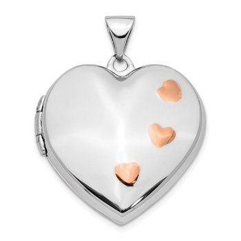 14K White Gold w/ Rose Rhodium 22mm Heart Locket Pendant