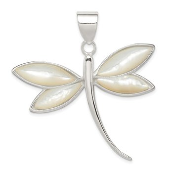 Sterling Silver White Shell Dragonfly Pendant