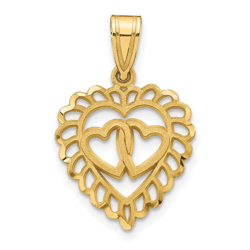 Quality Gold 14K Polished Double Heart Pendant