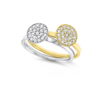 Diamond Circle Stackable Ring in 14K White and Yellow Gold with 21 Diamonds Weighing .21ct tw.