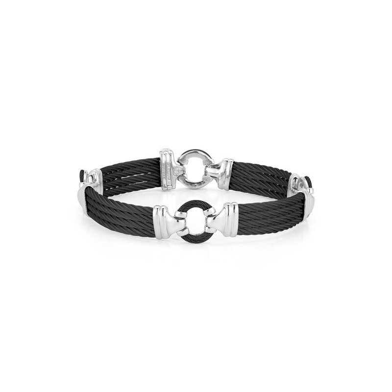 ALOR Men's Black Cable Bracelet with Cable Center Ring and Stainless Steel Accents