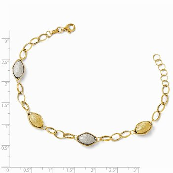 Leslie's 14K Two-tone Polished and Textured Beads w/1in ext. Bracelet