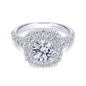14k White Gold Diamond Double Pave Halo Round Engagement Ring
