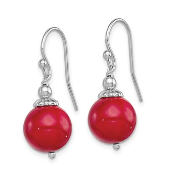 Sterling Silver Rhodium-plated Dyed Red Coral Shepherd Hook Earrings