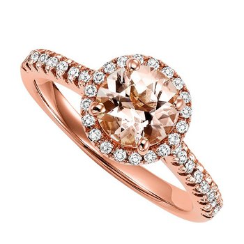 14K Morganite & Diamond Engagement Ring