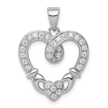 Sterling Silver Rhodium-plated CZ Heart Claddagh Pendant